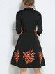 Elegant  Half Sleeve Surplice Neck Floral Midi Dress