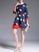 3/4 Sleeve Casual A-line  Jacquard Midi Dress