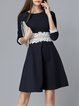 Navy Blue Guipure Crochet Lace A-line Elegant Midi Dress