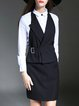 Navy Blue Three Piece Halter Vest  Plain Blouse Pencil Skirt Midi Dress