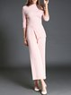 Pink Knitted Simple Jumpsuit