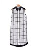 Black Casual High Low Buttoned Sleeveless Shirt Collar Shirt Dress