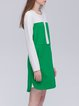 Green Casual Crew Neck A-line Color-block Mini Dress