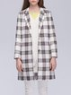 White Checkered/Plaid Casual Cotton-blend Buttoned Coat
