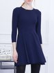 Royal Blue A-line Casual Knitted Mini Dress
