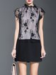 Black Frill Sleeve Elegant Pierced Two Piece Mini Dress
