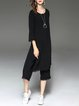 Black Ripped Two Piece Cotton-blend 3/4 Sleeve Jumpsuits