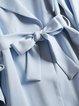 Light Blue Plain Long Sleeve Trench Coat