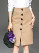 Khaki Formal Cotton-blend Plain Midi Skirt