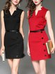 Plain Sleeveless V Neck Bodycon Elegant Mini Dress With Belt