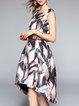 Multicolor Floral-print Sleeveless High Low Midi Dress
