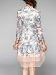 Pink Mesh Sequins Embroidery A-line 3/4 Sleeve Midi Dress