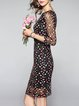 Multicolor Vintage Embroidered Mesh Midi Dress
