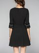 A-line 3/4 Sleeve Pleated Elegant Mini Dress With Belt