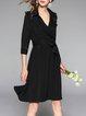 Lapel Elegant A-line 3/4 Sleeve Midi Dress With Belt