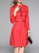Red A-line Plain Elegant Midi Dress With Belt