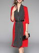 Red Sheath Slit 3/4 Sleeve Stripes Midi Dress
