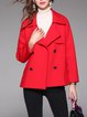 Buttoned H-line Lapel Simple Double Breasted Long Sleeve Coat