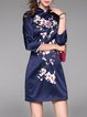 Embroidered Sheath 3/4 Sleeve Floral Mini Dress