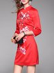 Red Vintage Sheath Embroidered Mini Dress