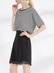 Half Sleeve Printed Stripes Casual Tops