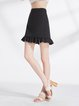 Black Solid A-line Casual Spandex Mini Skirt