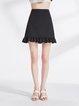 Black Solid A-line Casual Spandex Mini Skirt