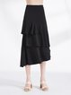 Black Solid Ruffled A-line Casual Midi Skirt