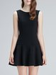 A-line Sleeveless Solid Crew Neck Mini Dress