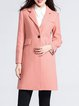 Pink Plain Wool Pockets Elegant Coat