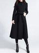 Black Buttoned Crew Neck A-line Elegant Coat
