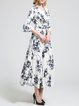 Frill Sleeve Cotton-blend Vintage A-line Surplice Neck Maxi Dress
