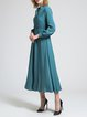 Stand Collar Plain Long Sleeve Casual Maxi Dress