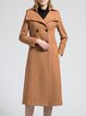 Camel Plain Buttoned Elegant Wool Blend Trench Coat