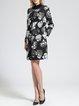Long Sleeve Buttoned Elegant Floral Coat