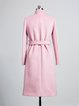 Pink Plain Wool Blend Long Sleeve Pockets Coat