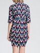 Multicolor Shirt Collar Vintage Geometric Shirt Dress