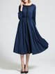 Balloon Sleeve Cotton-blend Paneled Casual Midi Dress