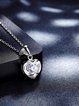 Silver Cubic Zirconia 925 Sterling Silver Heart Necklace