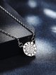 Silver 925 Sterling Silver Round Cubic Zirconia Necklace