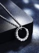 Silver Cubic Zirconia 925 Sterling Silver Round Necklace