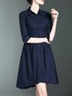 3/4 Sleeve Cutout Elegant Shirt Collar Midi Dress