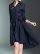 Shirt Collar 3/4 Sleeve High Low Elegant Midi Dress