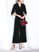 Polyester Casual Solid Surplice Neck 3/4 Sleeve Jumpsuit
