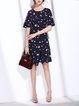Lace up Asymmetric Polka Dots Cotton-blend Short Sleeve Midi Dress
