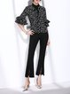 Black Lace Paneled Casual Flared Pant