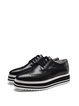 Black Platform Leather Casual Lace-up Oxford Shoes