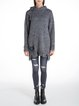 Gray Cutout Shift Long Sleeve Wool Blend Sweater