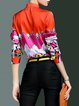 Multicolor Graphic Long Sleeve Shirt Collar Blouse