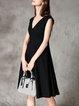 Black A-line Sleeveless Folds Midi Dress